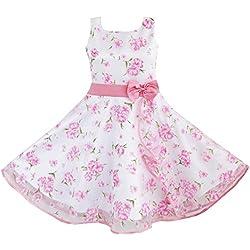 DB71 Sunny Fashion - Vestito floreale, bambina, rosa 4-5 anni