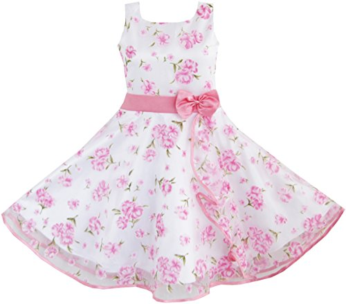 3-Layers-Girls-Dress-Pink-Flower-Wave-Pageant-Wedding-Size-4-12-Years