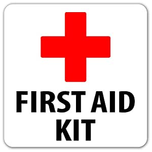 Amazon Com First Aid Kit Emergency Kit Safety Label Sign Sticker Decal 4x4 In Computers