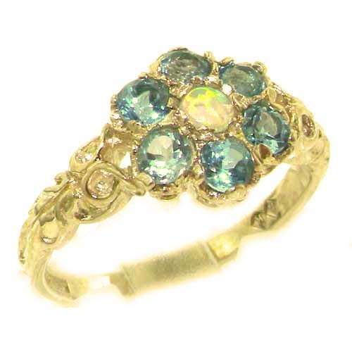 Victorian Ladies Solid 14K Yellow Gold Natural Fiery Opal & Blue Topaz Daisy Ring - Size 9.25 - Finger Sizes 5 to 12 Available - Perfect Gift for Birthday, Christmas, Valentines Day, Mothers Day, Mom, Mother, Grandmother, Daughter, Graduation, Bridesmaid.