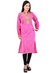 Grishma Collection Women's Cotton Straight Chikankari Kurti( Pink, Xl/42)