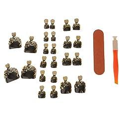 Generic 24pcs Metallic Toe Nails Full Cover Pedicure Artificial Nail Art Tips with Tool - 5