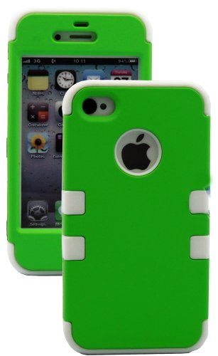Mylife White And Green - Flat Color Series (3 Piece Protective) Hard And Soft Case For The Iphone 4/4S (4G) 4Th Generation Touch Phone (Fitted Front And Back Solid Cover Case + Internal Silicone Gel Rubberized Tough Armor Skin) front-353380