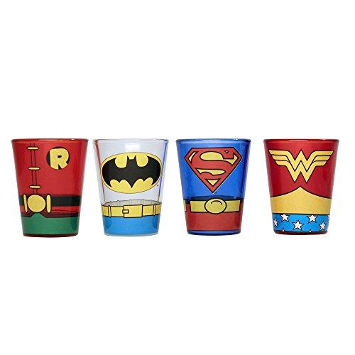 DC Comics DC031SG8 4 Piece Superheroes Uniforms Colored Mini Glass Set, 1 oz, Multicolor