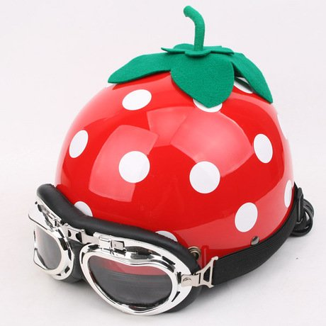 Bikman Women'S Motorcycle Motor Helmet Electric Cars Safety Bike Helmet Strawberry Printing With Cycle Glasses