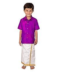Thangamagan Boy's Shirt/Dhoty Regular Fit (Purple,Age : 12 to 13 Years)