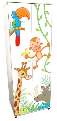 Animal Design Childrens/Kids White Wardrobe Bedroom Furniture