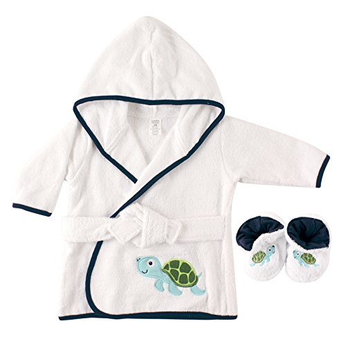Luvable Friends Woven Terry Baby Bath Robe with Slippers, Turtle