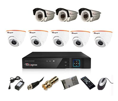 Tentronix T-8ACH-8-D5BA310 8-Channel AHD Dvr, 5(1MP/36IR) Dome,3(1MP/36IR) Bullet Cameras (With Accessories)