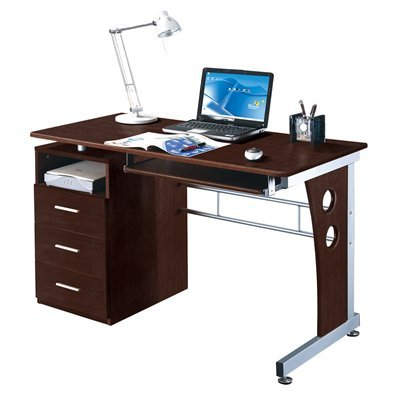 Buy Low Price Comfortable Mad Tech 30×22.75×47.25 Chocolate Mdf Panel & Steel Frame Computer Office Desk Table (B004W0MIHW)