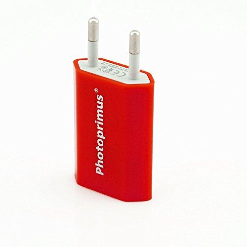 Photoprimus® Universal High Power USB Stromadapter 1000mA / 5W / 5V in rot - mit Überladeschutz, CE zertifiziertes USB Netzteil Reiselader Ladegerät Reiseladegerät Strom Adapter Passend für: Apple iPhone: 3G / 3 GS 4 / 4S /5 / 5c / 5s / 6 / 6 Plus / Samsung Galaxy: S3 / S4 / S4 mini / S5 / S6 / Ace / Xcover 2 / Y / Young Duos / Note 3 - 4 - 10.1 / Samsung Galaxy Tab 2 & 3 / HTC One / Huawei Ascend: G510 / P6 / Y300 / LG: G2 / Optimus 4X HD / L5