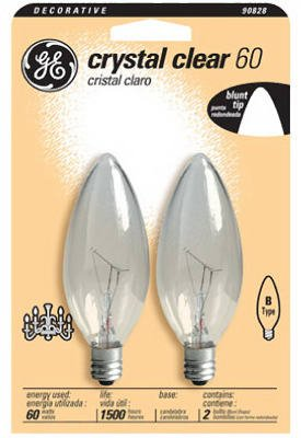 Ge 48402 60-Watt Candelabra Light Bulb, Blunt Tip, 2-Pack