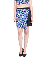 Abstract Print Panel Black Skirt Large