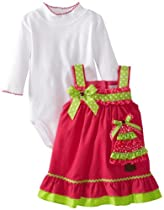 Rare Editions Baby Baby-girls Newborn Cord Jumper With Christmas Tree Applique, Fuchsia, 6 Months