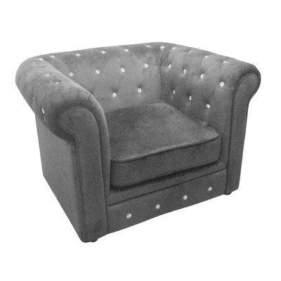 Premier Housewares Velvet Diamante Chesterfield Chair - 90 x 110 x 73 cm, Grey
