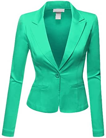 Doublju Women Casual Chic Mood Skinny Fit Blazer Suit Jacket MINT,S