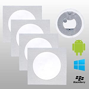 5 NFC Tag Sticker | NTAG203 | 168 bytes / 137 bytes Nutzspeicher | Weiß | 25mm rund | Original NXP