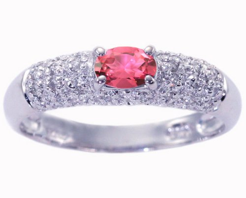 14K White Gold Petite Oval Gemstone and Diamond Promise Ring-Pink Tourmaline, size7