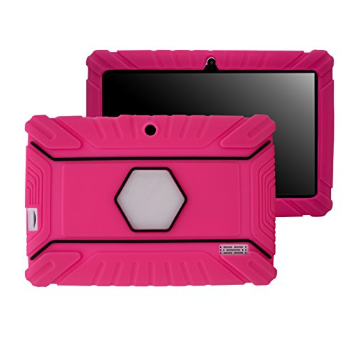 Transwon Kids Shock Proof Anti Slip Silicone Case for Chromo Inc 7 Inch, Alldaymall A88X 7 Tablet, NPOLE 7 Inch Tablet, NeuTab N7 Pro, Vuru A33, Dragon Touch Y88X, Tagital T7X, Vuru A33 - Magenta (7 Inc Tablet Case For Kids compare prices)