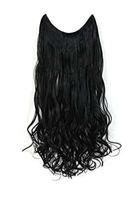 "OneDor® 20""/24"" Curly/straight Synthetic Hair extensions-Transparent wire/No clips"