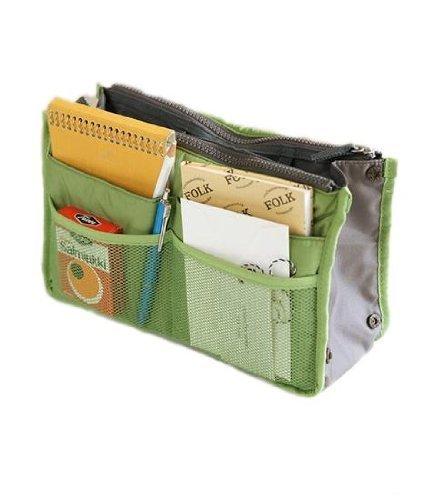 Periea Handbag Organiser, Liner, Insert 12 Pockets Large - Bright Green- Chelsy