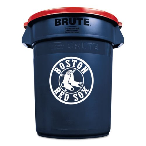 Rubbermaid Commercial Team Brute Round Container w/Lid, Red Sox, 32 Gal, Plastic, Navy Blue/White/Red - Includes one waste receptacle with lid. (Red Sox Trash Can compare prices)