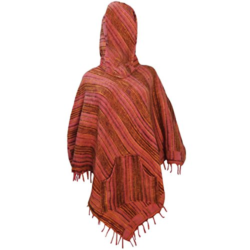 Pink Women Plus Size Boho Clothing Poncho With Hood Wool Blend Winter Wear