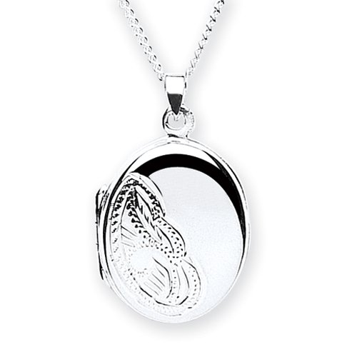 Chic Silver Medium Half Engraved Oval Locket with 46cm Chain