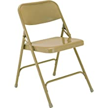 National Public Seating 200 Series All Steel Premium Folding Chair with Double Brace, 480 lbs Capacity, Beige (Carton of 4)