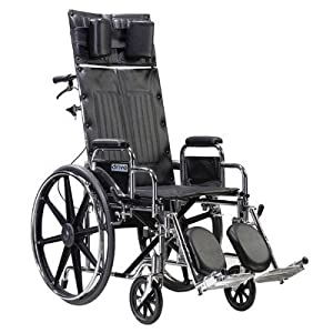 Drive Medical Sentra Reclining Wheelchair with Various Arm Styles and Elevating Legrest, Chrome from Drive Medical