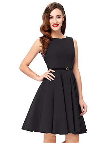 Pin Up Vintage Sundress for Women Black A-Line Size 1X F-13