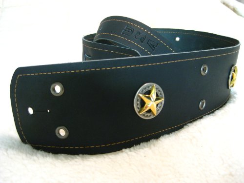 Tricked Out Leather Black w/ Gold Star Conchos, Gold Stitching & Eyelet Trim Genuine Leather Guitar Strap