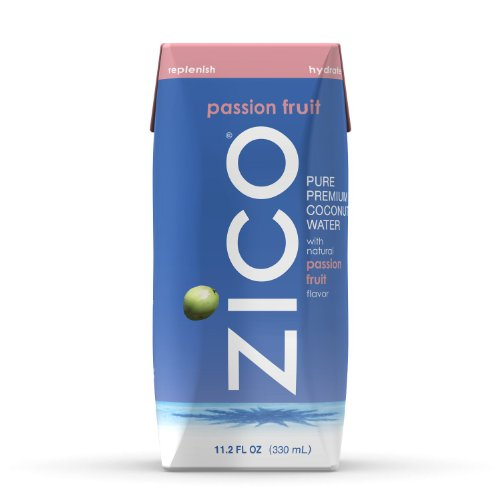 ZICO Pure Premium Coconut Water, Passion Fruit 11.2-Ounce Tetra Paks