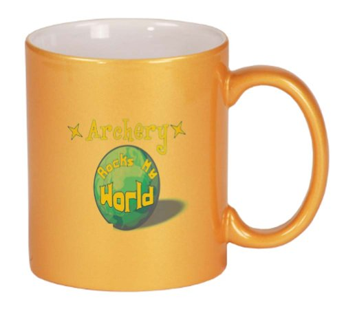 Archery Rock My World Coffee Mug Metallic Gold 11 oz