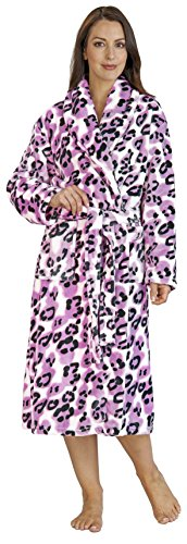 Ladies Medium Luxury Super Soft Fleece Pink and Navy Leopard Print Bath Robe Dressing Gown