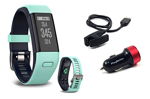 Garmin-Approach-X40-Frost-Blue-Golf-GPS-Fitness-Band-BUNDLE-with-PlayBetter-USB-Car-Charge-Adapter