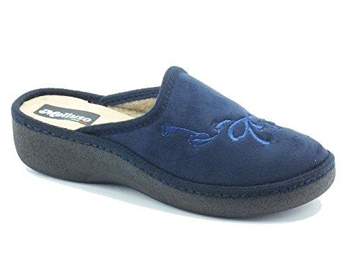 Pantofole per donna Melluso in pile colore blu (Taglia 40)