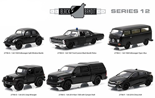 New 1:64 GreenLight Collection - BLACK BANDIT SERIES 12 ASSORTMENT Diecast Model Car By Greenlight Set of 6 Cars (Chevy Volt Model compare prices)