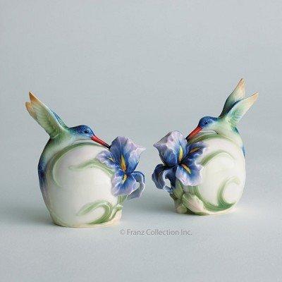 Franz Porcelain Long tail hummingbird salt