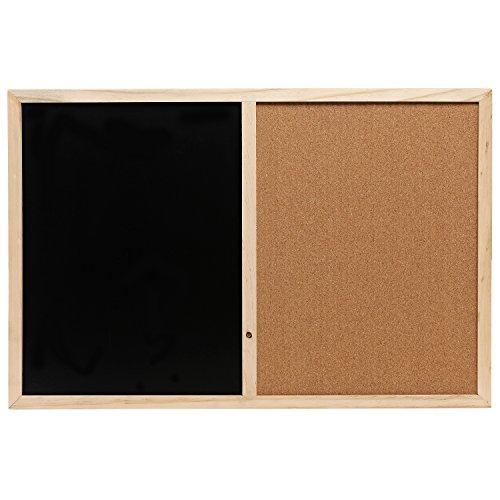 Wall Mounted Wooden Black Chalk Board / Cork Board Message Memo Bulletin Combo - MyGift�