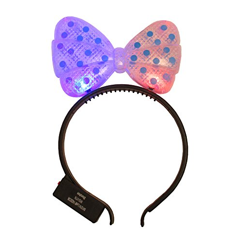 WeGlow International Light Up Hair Bow Headband, Blue, Pack of 4