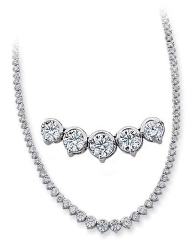 14k White 8.13 Ct Diamond Necklace - JewelryWeb