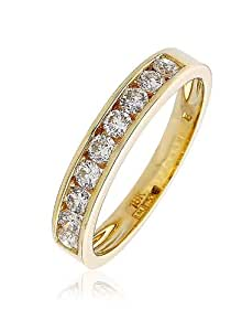 0.50CT Certified G/VS2 Round Brilliant Cut Channel Set Half Eternity Diamond Ring in 18K Yellow Gold