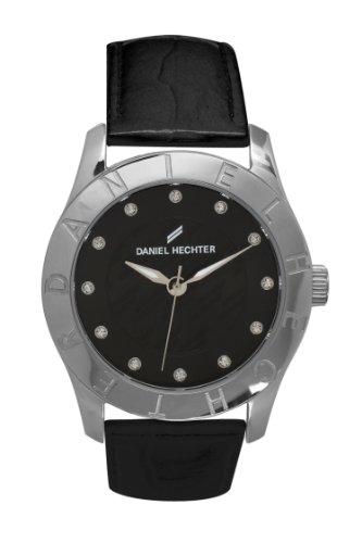 Daniel Hechter DHD AA - 004/Women's Quartz Analogue Watch-Black Face-Black Leather Strap