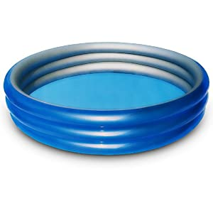 Large blue silver paddling pool for children and family for Large paddling pool