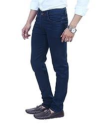 ManQ Carbon Blue Lycra Slim Fit Men's Jeans