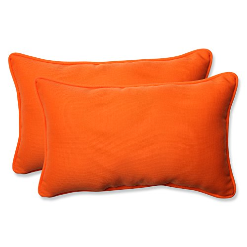 Pillow Perfect Indoor/Outdoor Sundeck Corded Rectangular Throw Pillow, Orange, Set of 2 ...