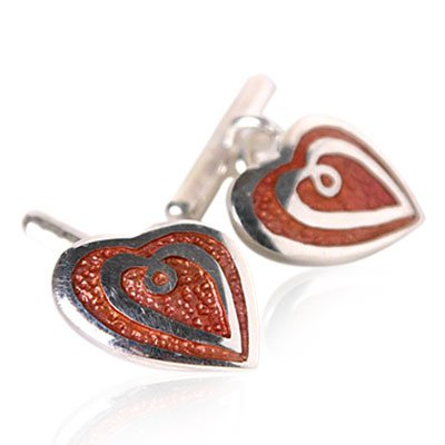 I Love You Heart Cufflinks with Sterling Silver and Salmon Enamel Heart with Presentation Box