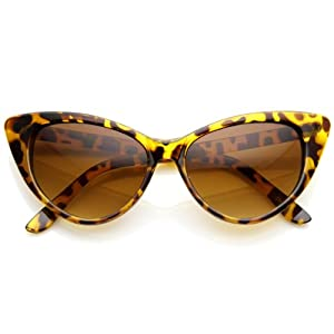 zeroUV® - Super Cateyes Vintage Inspired Fashion Mod Chic High Pointed Cat-Eye Sunglasses (Crazy Tortoise)