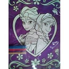 Frozen Glitter Coloring Sheet with Markers - Purple - Elsa and Anna - 1